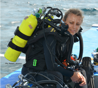 Sonia Rowley using Rebreather technology to complete her research